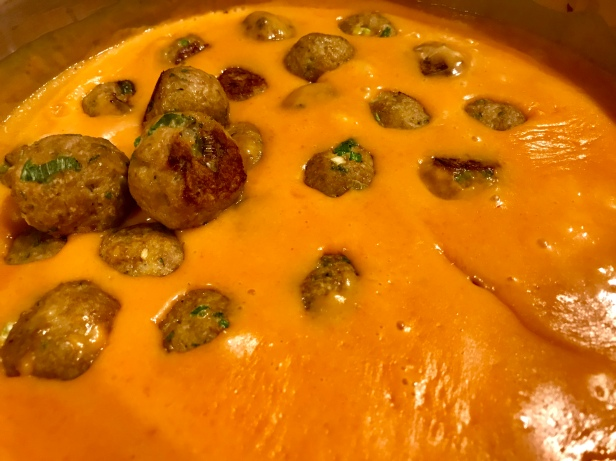 thai turkey meatballs in red coconut curry sauce