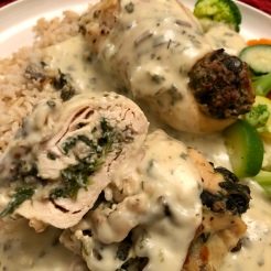 Mushroom and Spinach Chicken Roulade with Gravy