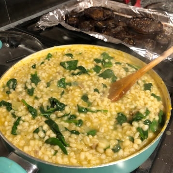 Spinach will wilt into hot barley risotto