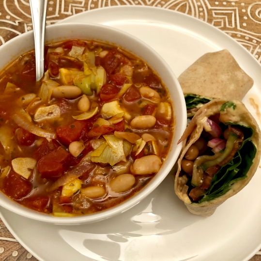 Puttanesca soup and Mediterranean Vegetable Hummus Wrap