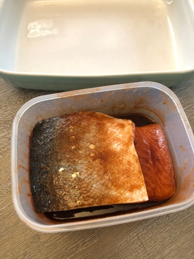 Cover salmon in marinade and sandwich together, flesh side touching